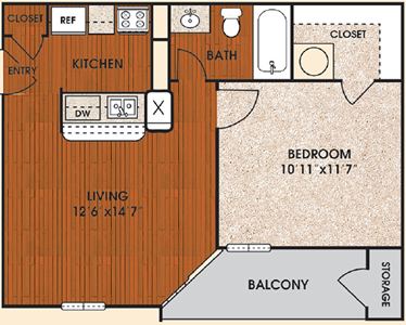 A - Eclipse - One Bedroom / One Bath - 518 Sq. Ft.*