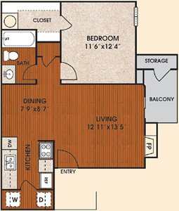 A1 - Twilight - One Bedroom / One Bath - 618 Sq. Ft.*