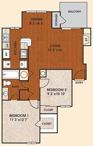 A3 - Sunset - One Bedroom / One Bath - 818 Sq.Ft.*